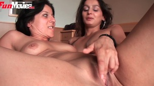 Two German lesbo amateurs sharing their toys