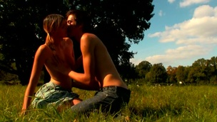 Legal Age Teenager playgirl looks very excited with the vehement sex in open air