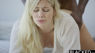 Golden-Haired Fashion Model Squirts on Giant Black Dick