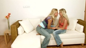 Horny and playful legal age teenager angels are playing with their strapons