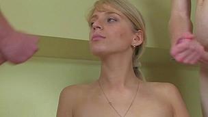 Sex appeal hottie takes off raiment of her pretty boyfriend.
