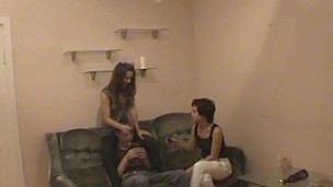 Sex attract hottie takes off garments of her pretty boyfriend.