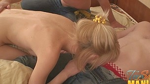 Blond legal age teenager slowly pulls down her dudes undies for a cock shot