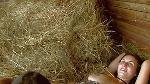 Nasty legal age teenager pair is having sizzling sexy sex at the haystack