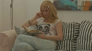 Cute beauty in a panda shirt legs spread vagina licked