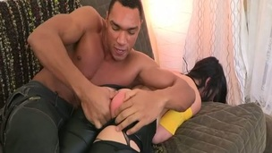 Playgirl with large ideal butt bounds on hard dick of her BF