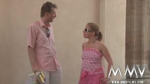 tenåring blonde sædsprut facial utendørs offentlig