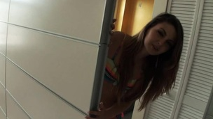 Watch on the pretty skinny is giving the delicious hot blowjob