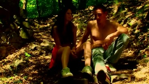 Forest becomes one greater amount location for sex with a nasty legal age teenager hottie