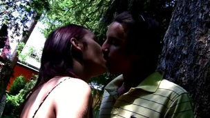 Outdoors fucking session happens with legal age teenager pair on the bench